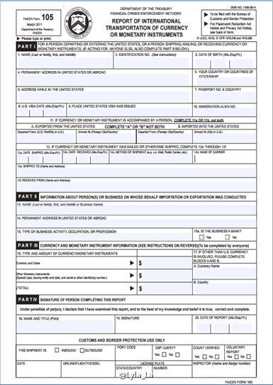 美国FinCEN Form 105 表格洲巡出国